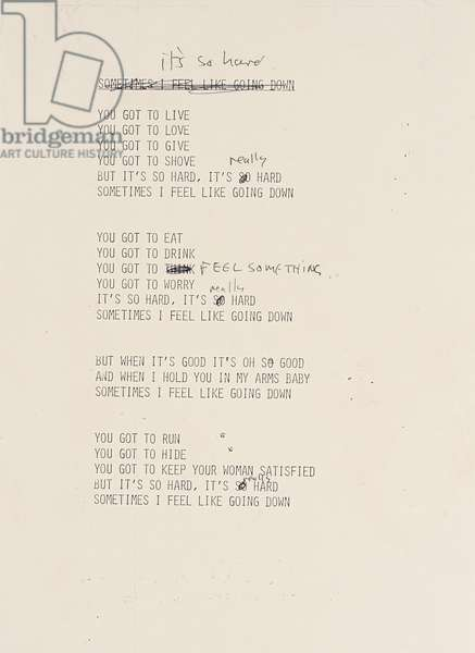 It's So Hard, annotated draft lyric sheet for 'Imagine', 1971 (pen & ink on photocopy)
