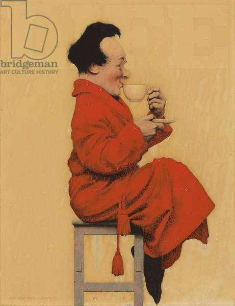 'Man Seated with Cup', a 'Life' magazine cover, 1925 (oil on illustation board)