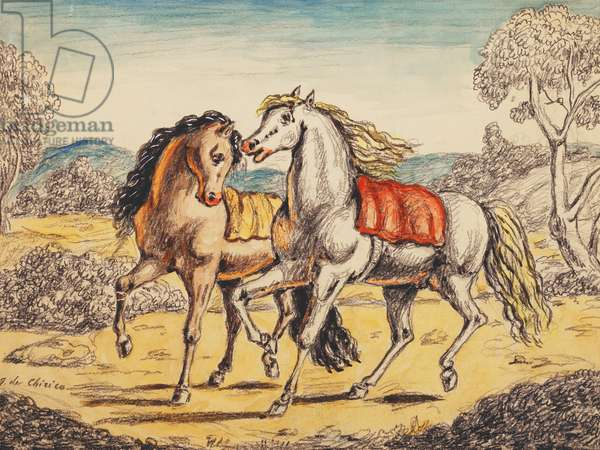Two Horses; Due Cavalli, 1972 (watercolour and pencil on card)