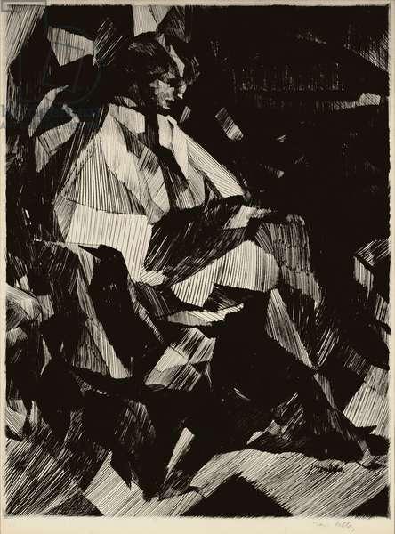 Yvonne Duchamp in profile, 1913 (drypoint)