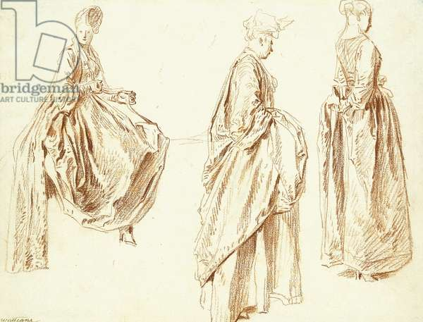 Three Ladies in profile to the right, one seated, c.1713-14 (red chalk on paper)