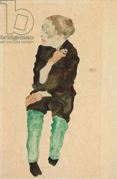 Boy with Green Stockings; Bub mit grunen Strumpfen, 1911 (gouache and watercolour over pencil on paper)