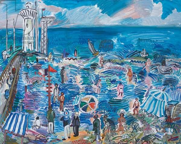 Beach Vacationers; Plage aux Estivants, 1994 (acrylic on canvas)