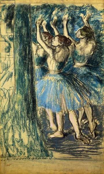 Dancers in the Scene; Danseuses en Scene, c. 1898 (pastel and charcoal on paper)