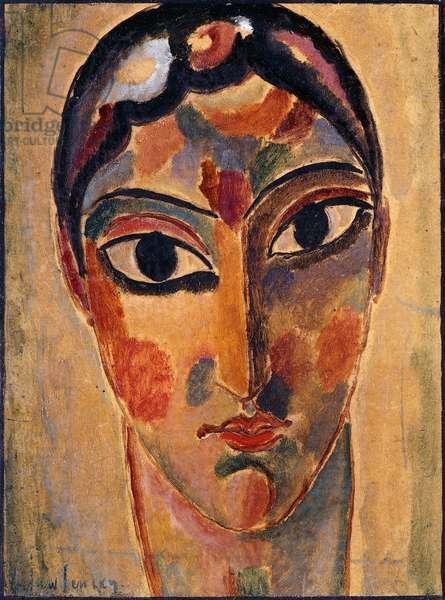 Mystical Head: Head Ascona; Mystischer Kopf: Asconeser Kopf, 1918 (oil on board)