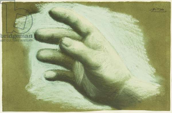 Study of the Right Hand, 1921 (pastel on brown paper)