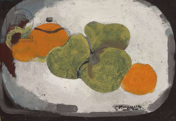 Still Life (oil, gouache and sand on paper, laid down on canvas)
