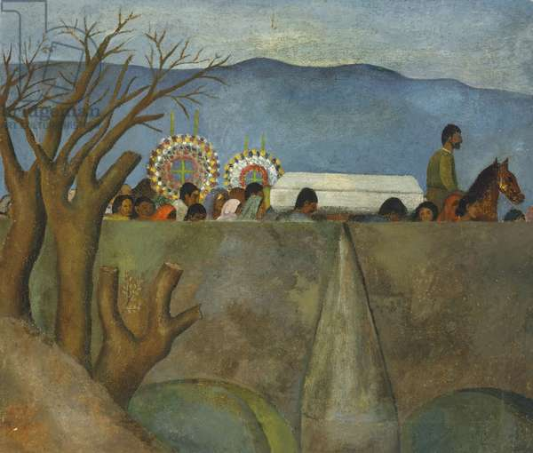 Burial in Xoco, (oil on canvas)