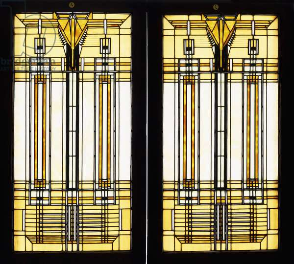 Two rare and important leaded glass skylights designed by Frank Lloyd Wright for the B. Harley Bradley House, Kankakee, Illinois,  (leaded glass)