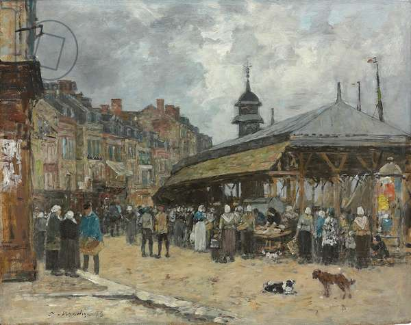 Market at Trouville; Marche a Trouville, 1878 (oil on board)
