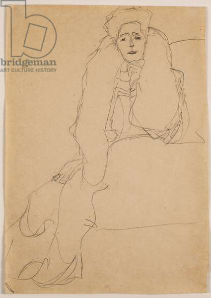 Seated to the Left, the Upper Body Leaning Forward; Sitzend nach links, den Oberkorper nach vorne, die Linke aufgestutzt, 1904-1905 (pencil on buff paper)