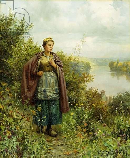An Autumn Stroll,  (oil on canvas)