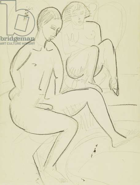 Young Couple in the Bathroom (verso); Junges Paar beim Bad (verso), c.1923-1925 (black wax crayon and charcoal on buff paper)