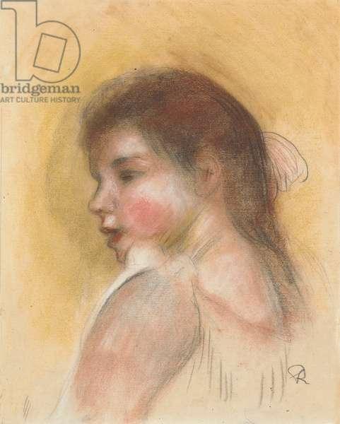 Head of a Young Girl in Profile; Tete de Jeune Fille en Profil (pastel on paper)