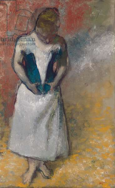 Standing Woman Seen from the Front, Clasping her Corset; Femme debout et vue de face, agrafant son corset, 1883 (oil on canvas)
