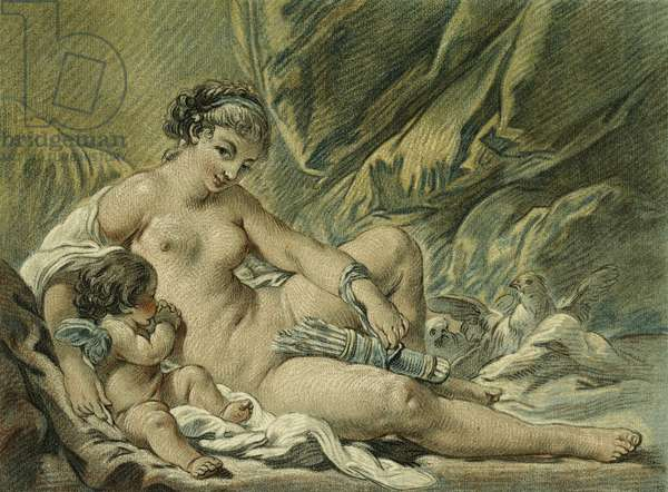 Love Convinces Venus to Surrender His Weapons, after F. Boucher; L'Amour prie Venus de lui Rendre ses Armes, after F. Boucher, 1768 (chalk-manner etching with engraving printed in colours)