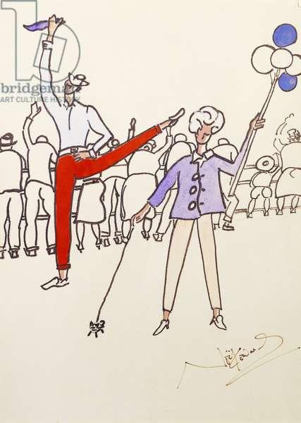 Entertainers at the Fair, (gouache and felt tip)