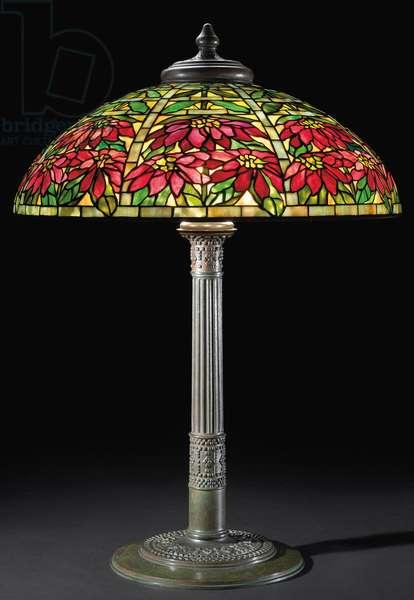 Poinsettia table lamp, c.1910 (leaded glass & bronze)
