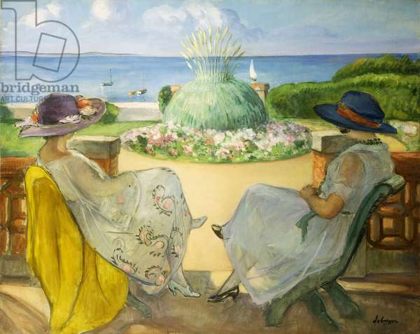 Two Young Women on a Terrace by the Sea; Deux Jeunes Filles sur une Terrasse en Face la Mer, 1922 (oil on canvas)