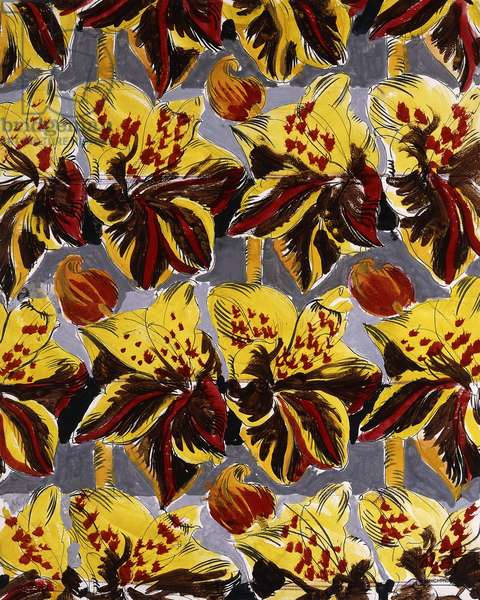 Red and Yellow Flowers; Fleurs Rouges et Jaunes,  (watercolour and pencil on paper)