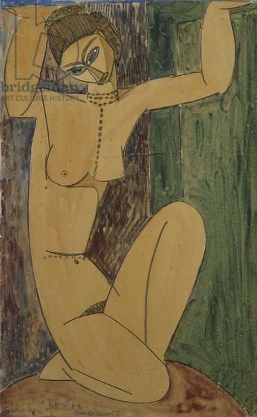 Caryatid; Cariatide, 1913 (watercolour and pencil heightened with white on paper)