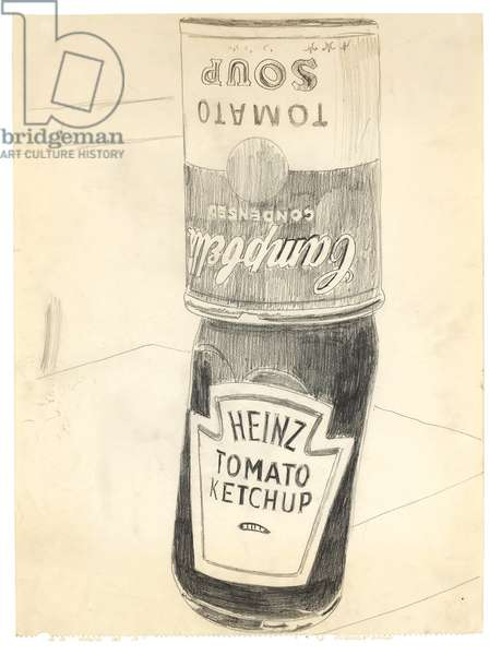Heinz Tomato Ketchup with Campbell's Soup Can, 1962 (graphite on paper)