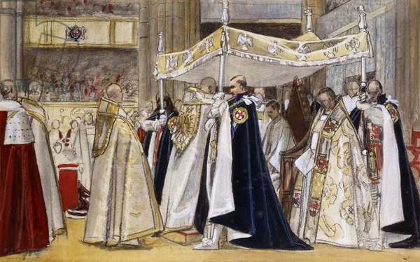 The Annointing of H.M. King George VI, 1937 (charcoal, coloured chalk and watercolour on beige paper)