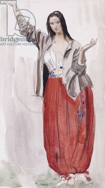 Dorelia in Eastern Dress, c.1906 (pencil,watercolour and bodycolour)