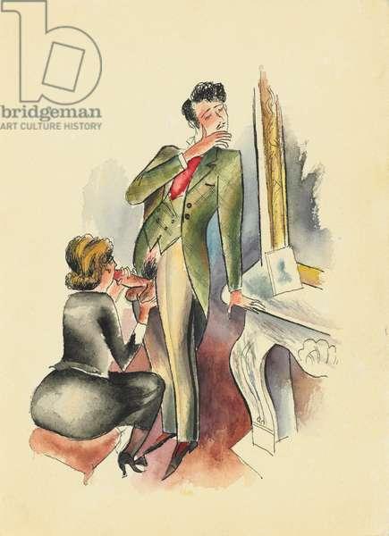 Illustration from 'Les Onze mille verges ou les amours d'un Hospodar' by Guillaume Apollinaire, 1932 (w/c on paper)