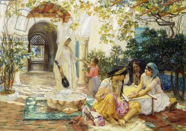 In a Village at El Biar, Algiers,  (oil on canvas)
