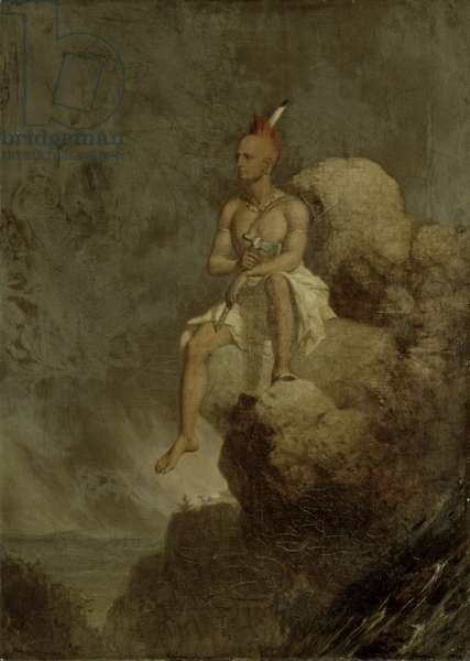 Indian Warrior on the Edge of a Precipice, 1847 (oil on canvas)