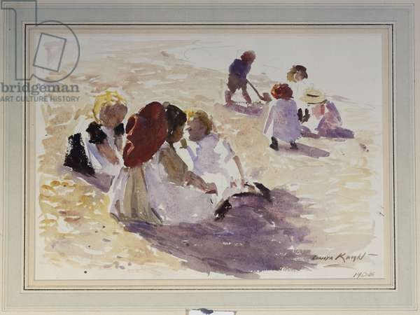 Children on a Beach, 1908 (w/c, bodycolour & pencil on paper)