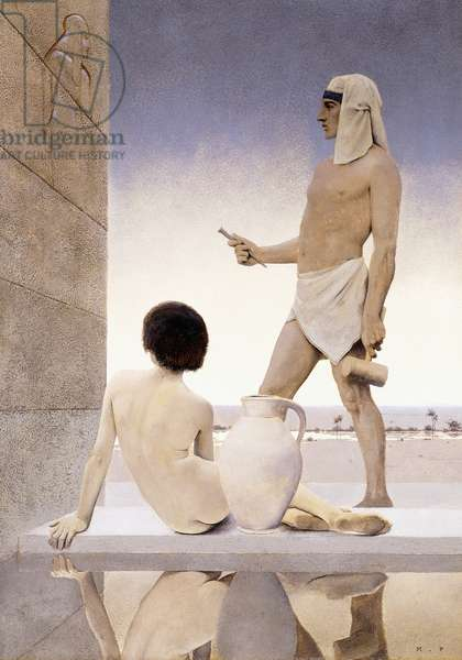 The Egyptian Sculpture,1903 (oil on paper)