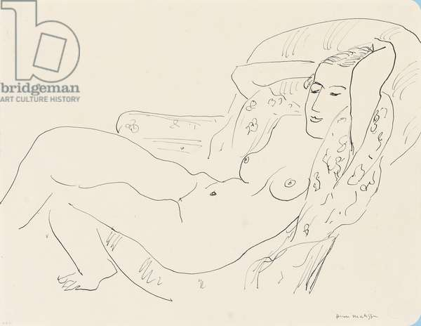 Female Nude, Arms Raised, 1931 (pen and India ink on paper)