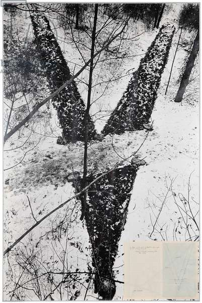 A Trace in the Wood in the Form of an Angle of 30° - Crossing the Path, 1969 (paper collage on black and white photograph)