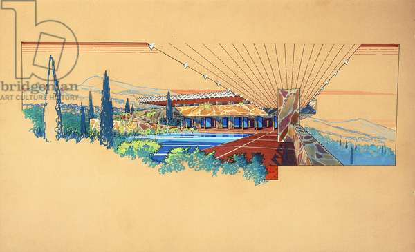 An architectural drawing by Frank Lloyd Wright, depicting the interior pool court from underneath the pergola, designed for Arch Oboler, Malibu, California, c.1954 (ink and gouache on board)