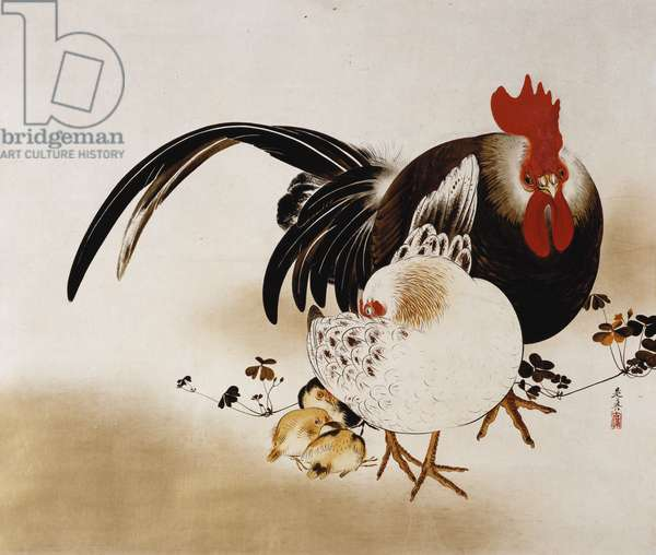 Hanging scroll depicting a Cockerel, hen and chicks (coloured lacquer on prepared paper)