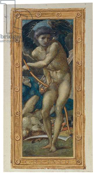 The Triumph of Love (or Amor Vincit Omnia): Oblivio (one of four panels), 1871 (watercolour and bodycolour heightened with gold on canvas, laid down on paper)