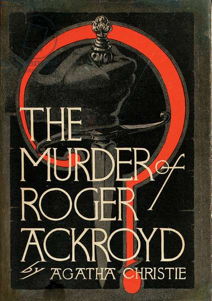 Front cover of 'The Murder or Roger Ackroyd' by Agatha Christie, 1926 (colour litho)