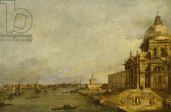 Santa Maria delle Salute and the Entrance to the Grand Canal, Venice, Looking East, (oil on panel)