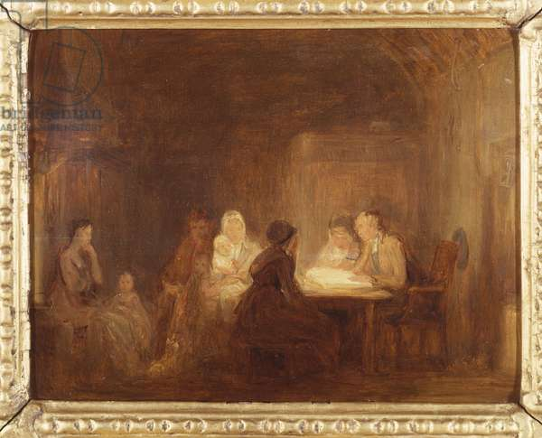 The Cotters Saturday Night - a Sketch (oil on panel)