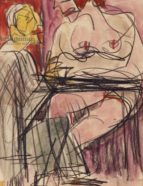Female Nude and Man sitting at a Table; Weiblicher Akt und Mann an einem Tisch sitzend,  (pencil and watercolour on paper)