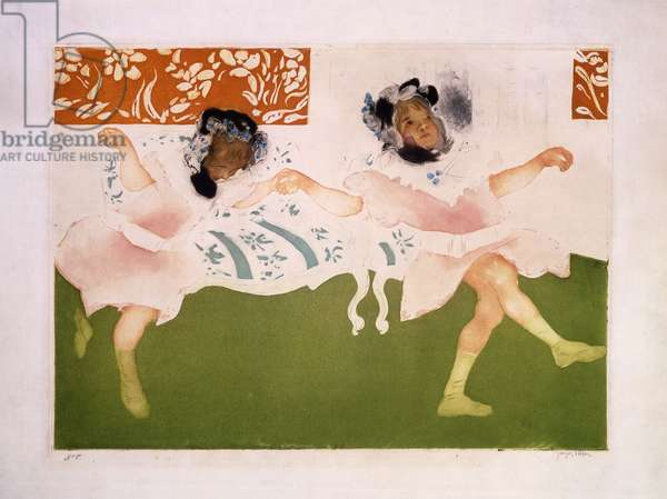 The Cake-Walk of the Little Girls; Le cake-walk des petites filles., 1904 (colour acquatint and drypoint on wover paper)