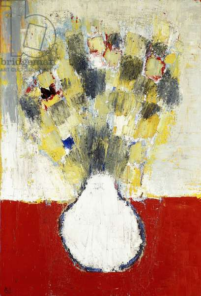 Flowers on Red Background; Fleurs Sur Fond Rouge, 1953 (oil on canvas)