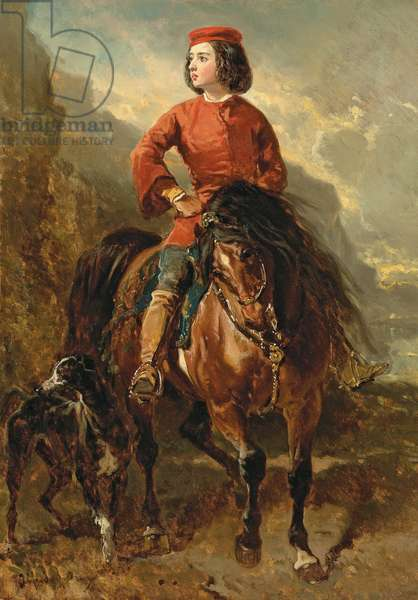 Young Rider on a Shetland, with a Greyhound; Jeune cavalier montant un shetland et levrier, 19th century (oil on canvas)