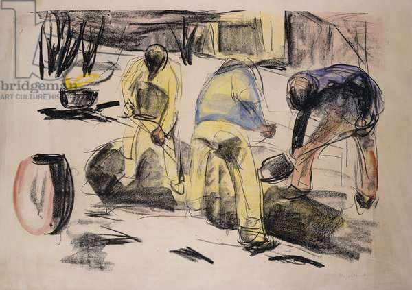Grave Workers; Grabende Arbeiter, 1920 (handcoloured lithograph)