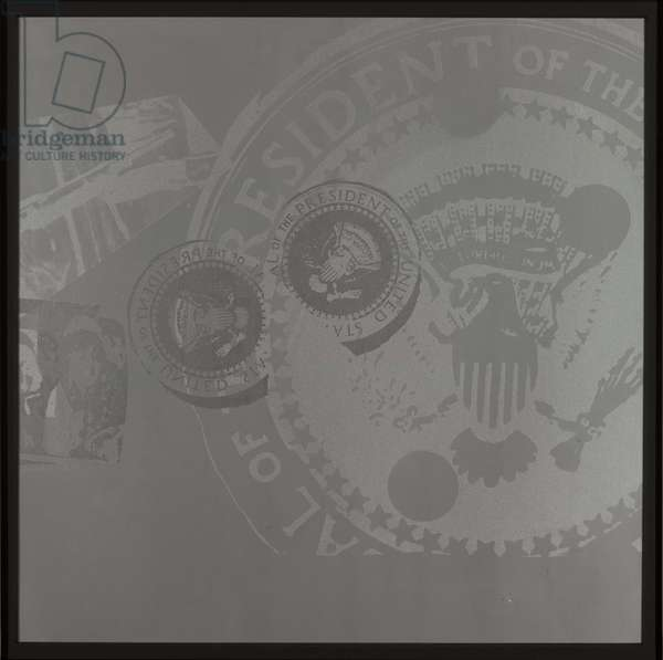 Seal of the President of the United States, 1963-1968 (screenprint, colophon and Teletype on paper with plexiglas box)