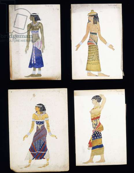 Egyptian Costume Designs for a Dancer, a Musician, Ta-Or, and Cleopatra's Sister,  (pencil and gouache on paper)