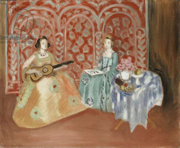 Interior - Two figures (Musicians), 1923 (oil on canvas)