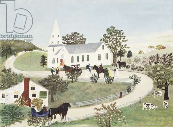Going to Church, 1945 (tempera on canvasboard)